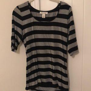 Black & Grey Striped 3/4 Sleeve Shirt